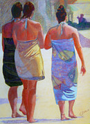 Scenic Pastels Posters - Three Girls on the Beach Poster by Katherine  Berlin