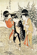 Woman In Pool Painting Posters - Three girls paddling in a river Poster by Kitagawa Utamaro