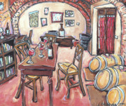 Winery Paintings - Three Glasses at Pira by Leslie Alexander
