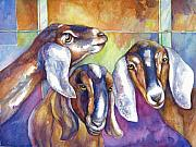Goats Paintings - Three Goats by Peggy Wilson