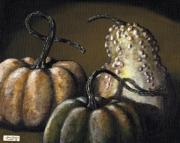 Interior Still Life Painting Metal Prints - Three Gourds Metal Print by Adam Zebediah Joseph