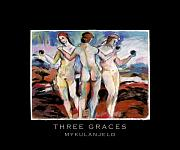 Goddess Mythology Drawings - Three Graces And Title by Mykul Anjelo
