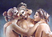 Greek Sculpture Painting Prints - Three Graces Detail Print by Geraldine Arata