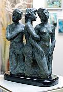 Goddess Mythology Sculptures - Three Graces by Lynn Forbes