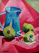 Suzanne Willis Metal Prints - Three Green Apples Metal Print by Suzanne Willis