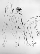 Nudes Drawings Prints - Three hail Marys Print by Joanne Claxton