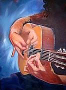Guitar Painting Originals - Three Hands by Paez De Pruna
