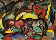 Expressionist Horse Framed Prints - Three Horses Framed Print by Franz Marc