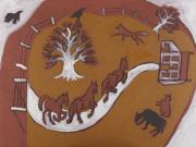 Iron Oxide Paintings - Three horses by Sophy White