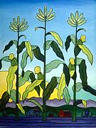 Corn Painting Posters - Three in a Row Poster by Stacey Neumiller
