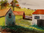 Barns Drawings Prints - Three in the Autumn Sun Print by John  Williams