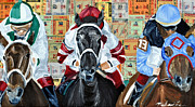 Churchill Downs Mixed Media Prints - Three In the lead Print by Michael Lee