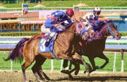 Horserace Paintings - Three in the Stretch by Clarence Alford