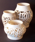 Stoneware Ceramics Prints - Three Interlaced Design Wheel Thrown Pots Print by Carolyn Coffey Wallace