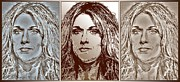 Songwriter Mixed Media Metal Prints - Three Interpretations of Celine Dion Metal Print by J McCombie