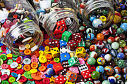 Playthings Photo Prints - Three jars of buttons dice and marbles Print by Garry Gay