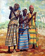 Dresses Prints - Three Joyful Girls Print by John Lautermilch
