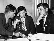 Bobby Kennedy Framed Prints - Three Kennedy Brothers At Rackets Framed Print by Everett