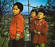 Korea Digital Art Prints - Three Kids in Red - 1955 Print by Dale Stillman