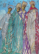 Three Kings Prints - Three Kings and Angel Print by Mary DuCharme