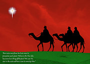 Star Of Bethlehem Prints - Three Kings travel by the Star of Bethlehem - Christmas Motif with Caption Print by Gary Avey