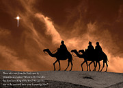 Star Of Bethlehem Photo Framed Prints - Three Kings Travel by the Star of Bethlehem - Sandstorm with Caption Framed Print by Gary Avey