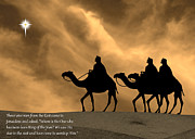 Star Of Bethlehem Prints - Three Kings Travel by the Star of Bethlehem - Sunset with Caption Print by Gary Avey