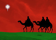 Star Of Bethlehem Prints - Three Kings Travel by the Star of Bethlehem - Christmas Motif Print by Gary Avey