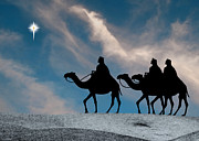 Star Of Bethlehem Photo Framed Prints - Three Kings Travel by the Star of Bethlehem - Evening Framed Print by Gary Avey