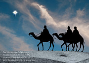 Star Of Bethlehem Prints - Three Kings Travel by the Star of Bethlehem - Evening with Caption Print by Gary Avey