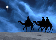Star Of Bethlehem Posters - Three Kings Travel by the Star of Bethlehem - Midnight Poster by Gary Avey