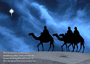 Star Of Bethlehem Photo Posters - Three Kings Travel by the Star of Bethlehem - Midnight with Caption Poster by Gary Avey
