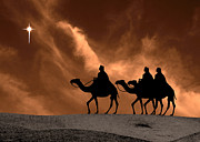 Star Of Bethlehem Prints - Three Kings Travel by the Star of Bethlehem - Sandstorm Print by Gary Avey