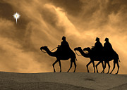 Star Of Bethlehem Prints - Three Kings Travel by the Star of Bethlehem - Sunset Print by Gary Avey