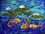 Linda Olsen Metal Prints - Three Koi and Lilies Metal Print by Linda Olsen