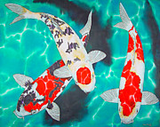 Tropical Art Tapestries - Textiles Prints - Three Koi Print by Daniel Jean-Baptiste