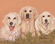 Labrador Retriever Pastels - Three Labs by Jenny Greiner