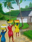 Mango Posters - Three Ladies Going To The Marketplace Poster by Nicole Jean-louis