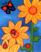 Genevieve Paintings - Three Ladybugs and Butterfly by Genevieve Esson