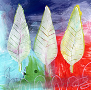 Autumn Landscape Mixed Media Posters - Three Leaves Of Good Poster by Linda Woods