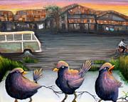 Little Birds Paintings - Three Little Birds by Hannah Curran
