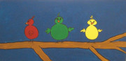 Little Birds Paintings - Three Little Birds by Nick  Kenworthy