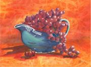Blue Grapes Posters - Three Little Cherries Poster by Marsha Elliott