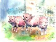 Pig Mixed Media Posters - Three Little Pigs Poster by Arline Wagner