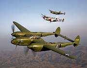 Three Speed Prints - Three Lockheed P-38 Lightnings Print by Scott Germain