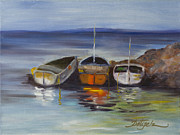 Docked Boats Painting Posters - Three Lonely Boats Poster by Pati Pelz