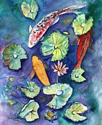 Hawaiian Fish Paintings - Three Lucky Koi by Marionette Taboniar