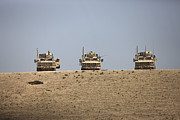 Machine Photos - Three M-atvs Guard The Top Of The Wadi by Terry Moore