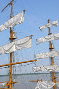 Getting Away Prints - Three-masted sailboat on Guayas river Print by Sami Sarkis
