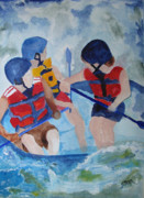 White Water Rafting Paintings - Three Men in a Tube by Sandy McIntire